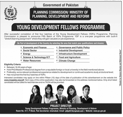 Planning Commission of Pakistan announces Young Development Fellowship2019