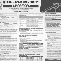 QAU announces admission for Master's programme spring 2019