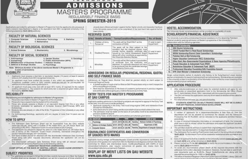 QAU announces admission for Master's programme spring2019