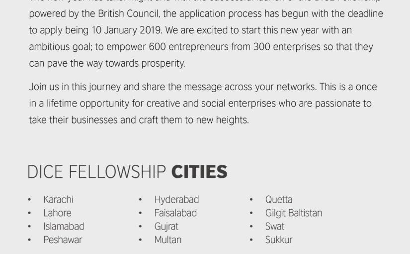 DICE Pakistan Fellowshipannounced