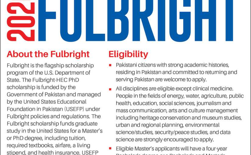 USEFP announces Fulbright Masters and PhD programs 2020