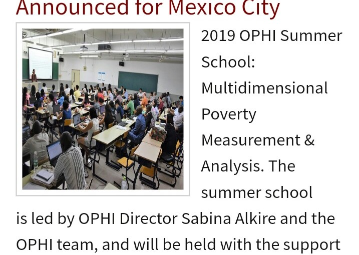 Oxford Poverty and Human Development Initiative Summer School 2019