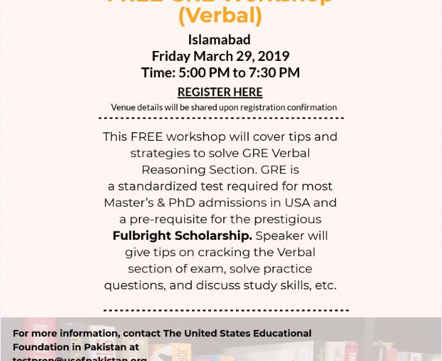 USEFP to host a free GRE (verbal)workshop