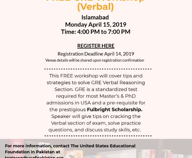 Attend USEFP's free GRE workshop inIslamabad