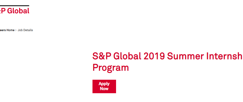 S&P Global 2019 Summer Internship Programannounced