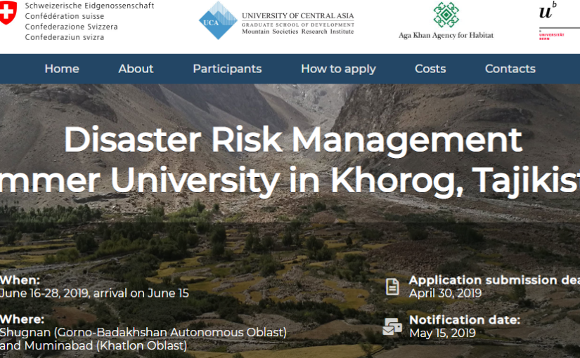 Call for Disaster Risk Management Summer University at UCA