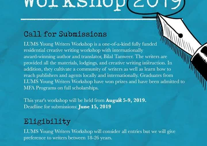 LUMS writing workshop 2019 to be held inAugust