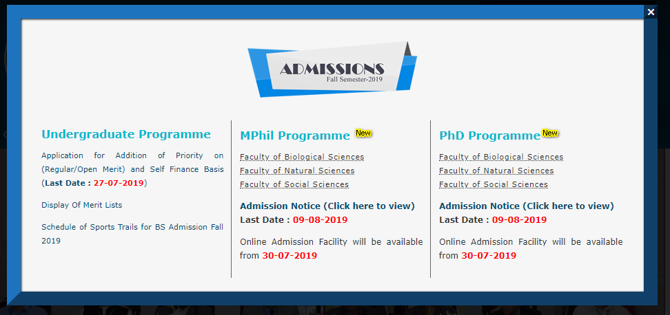 QAU announces MPhil/MS & PhD admissions for fall 2019